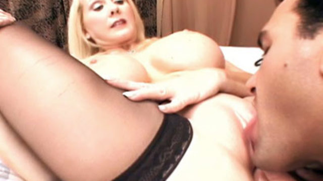 Busty Mature Blonde Gives Her Snatch