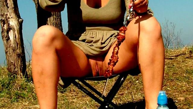 Attractive Brunette Beginner Spouse Dasha Flashing Red Slit Upskirt And Consuming Beer At A Picnic