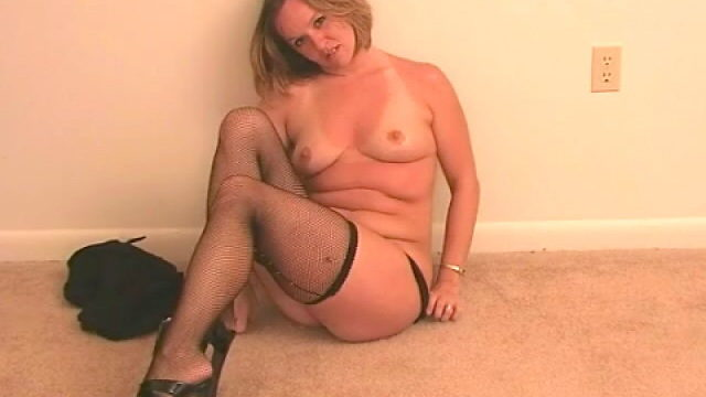 Good Towheaded Wifey Tessa Unclothing Dark-hued Lingeria And Taunting Us Along With Her Tights